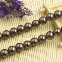 Beads, Glass Imitation pearls, Glass, Brown , Round shape, Diameter 12mm, 7 Beads, [FZZ0060]